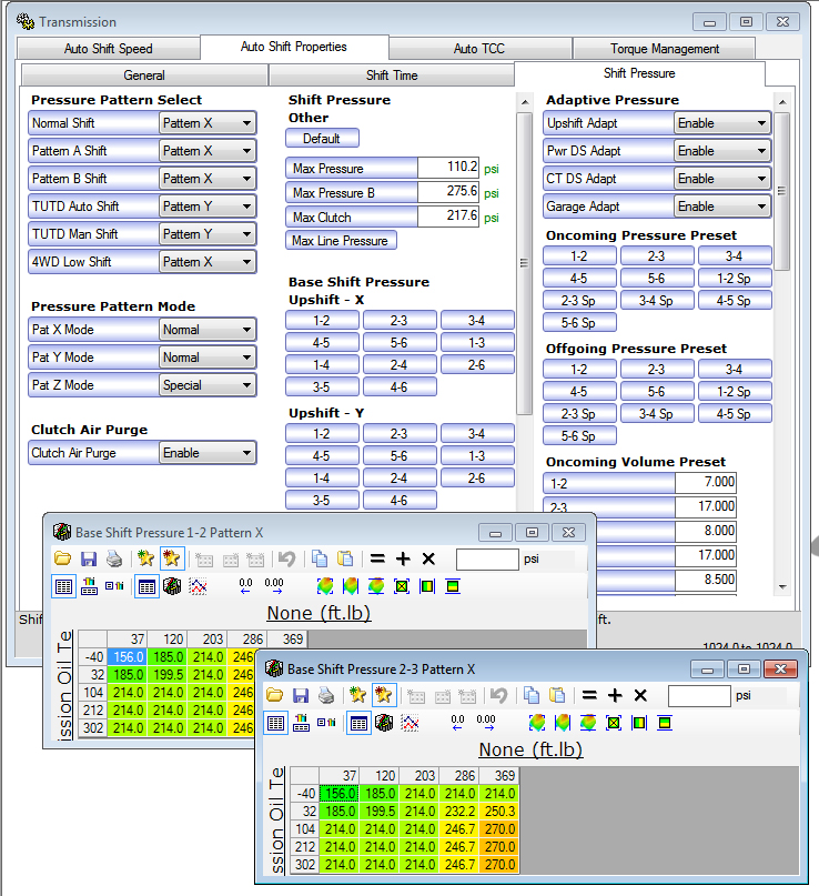 TCC apply/release values in stock 6T70 tune